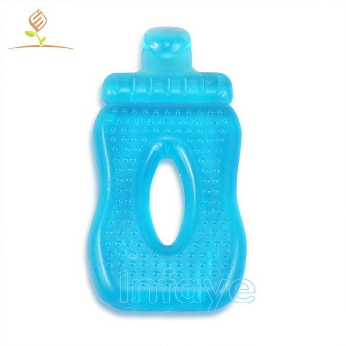 silicone baby teether, Baby bottle shape water filled teether